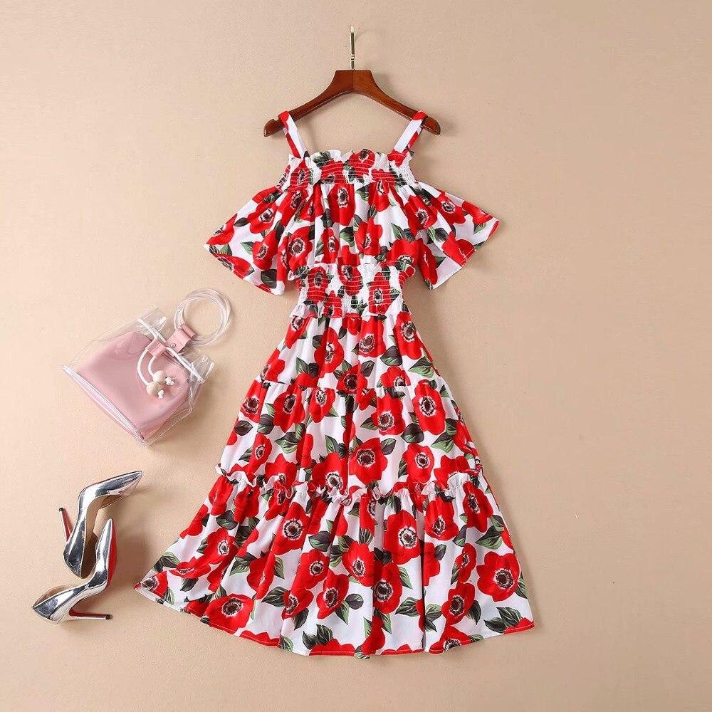 Women Dress 19 High Quality Spring Summer Designer Runway Half Sleeve Printed Spaghetti Strap Casual Dresses NP0093 2