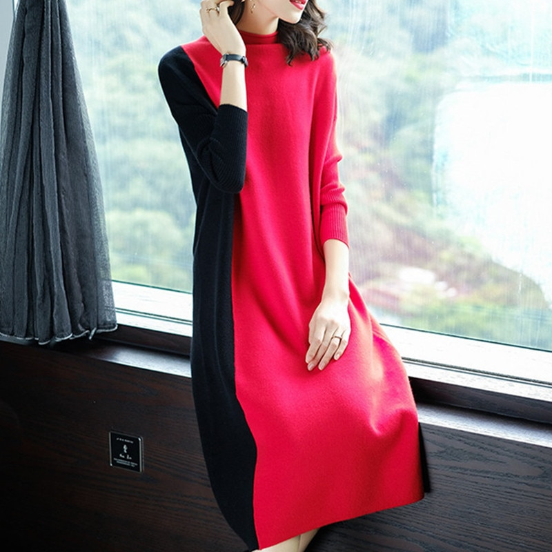 Europe Women 19 Autumn Winter Stitching Fashion Long Sleeve Dress Female Half Turtleneck Knee-Length Knitted Dress A1139 2