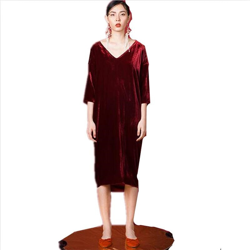 19 Women Autumn half sleeve long dress sexy deep V-neck Velvet straight dress plus size velour dress L-6XL 1