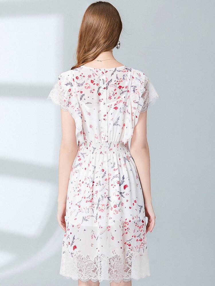MIUXIMAO Top Quality 19 Fall Dress Flower Ptint Half Sleeve Dress Slim Lace Eleghant Cotton Casual Dress Women Vestidos 2