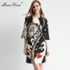 MoaaYina Fashion Designer dress Spring Summer Women's Dress Half sleeve Crystal Beading Loose Dresses