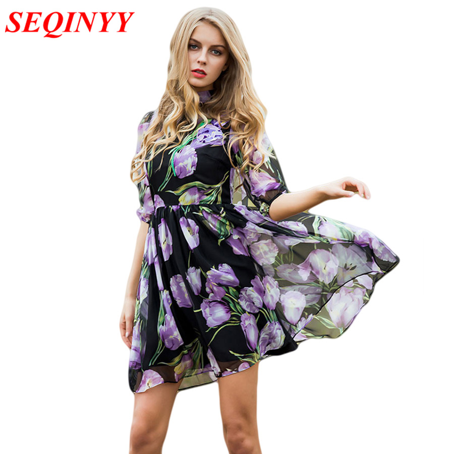 Fashion Dress Summer Spring New Women's 17 New Half Lantern Sleeve Purple Flowers Printed Emrboidery A-line Dress