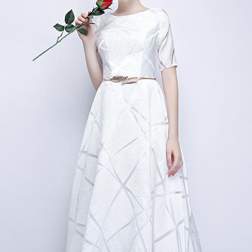Spring High Quality Stylish Dress Half Sleeve Round Elegant Dress Ball Gown Long Party Dress 2
