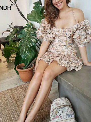 SONDR Sexy Off Shoulder Dresses Women Strapless Lantern Half Sleeve Patchwork Ruffle Print Dress Female 19 Summer New