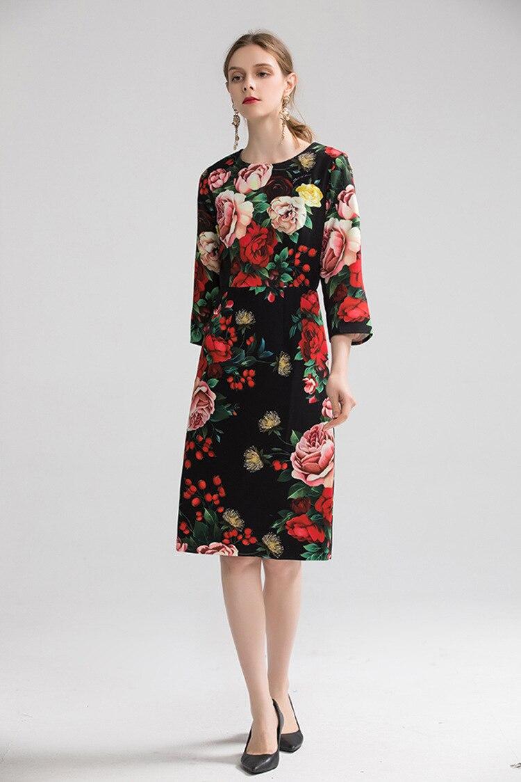 Europe&America women high quality floral print dress 19 autumn fashion half sleeves elegant dress B013 2
