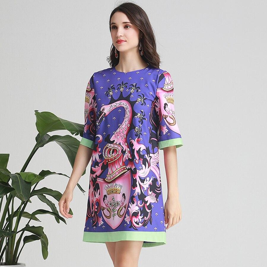AELESEEN Women Beaded Dresses 19 Summer High Street Half Sleeve Coloful Animal Print Diamonds Straight Mini Loose Dress 3