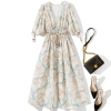 Women deep V-neck sexy bohemian dress half sleeve tassel sashes a-line summer casual dresses 19