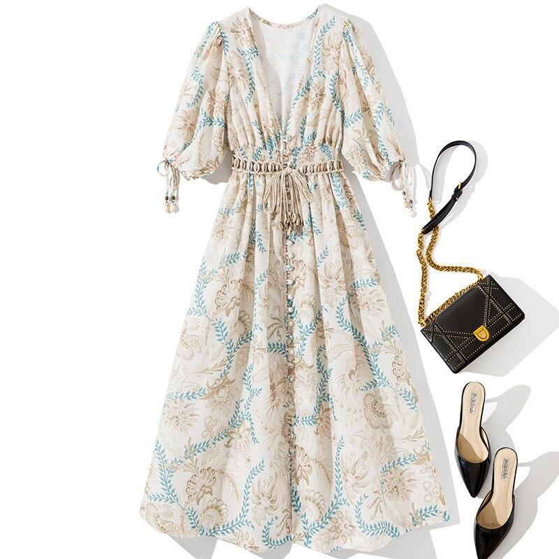 Women deep V-neck sexy bohemian dress half sleeve tassel sashes a-line summer casual dresses 19