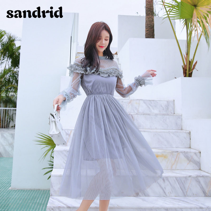 sandrid 19 French dress with flared sleeves with half-high neckline lace patchwork mesh 2