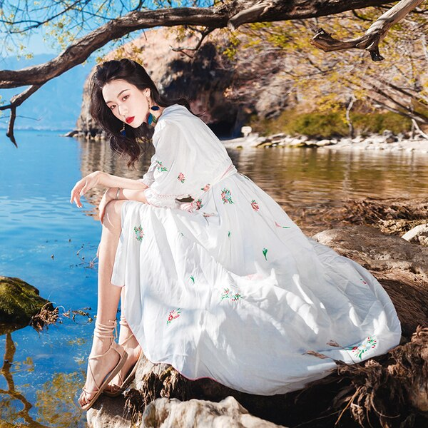 white cotton Embroidery Beach Dress 19 New Summer vintage Half Sleeve dresses Casual Holiday long dress 3