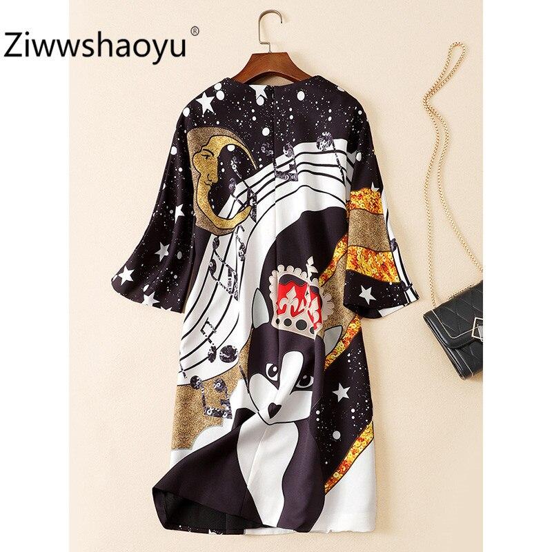 Ziwwshaoyu Fashion Autumn Winter Brand Diamond Sequin Angel Flower Print Half Sleeve Loose Dresses Women's 3