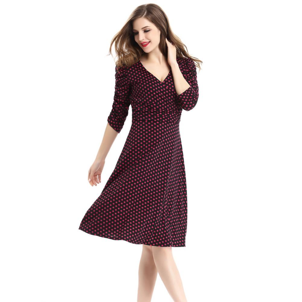 17 spring summer dress women princess elegant and ladies dress half sleeve dot casual dress for woman free shipping 1