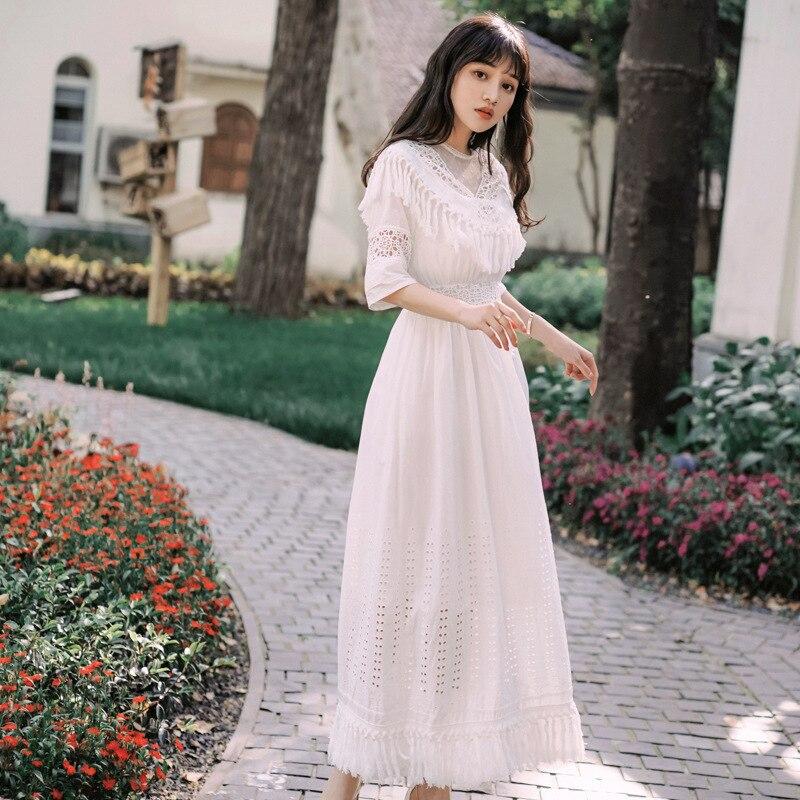 Foamlina Summer Women White Long Dress Sexy Dot Mesh Patchwork Half Sleeve Tassels Hollow Out Casual Female Beach Maxi Dress 1