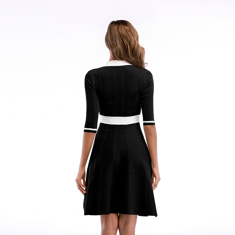 SKTSUUC 19 Women Knitted Dress White Collar With Bow Half Sleeve Office Dresses For Ladies Autumn Women Knitted Dress 3