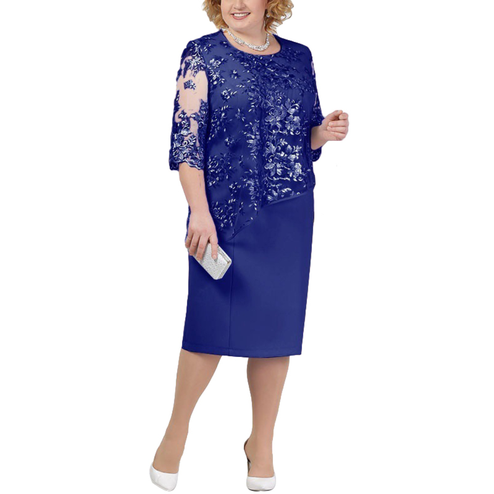 Plus Size Party Elegant Women Dresses Clothing Sheer Half SleeveFloral Lace Layered Mother of Bride Office Casual Midi Dress 1