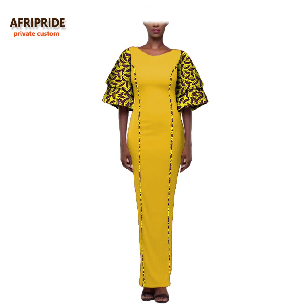 19 african style autumn dress for women AFRIPRIDE private custom wide half sleeve ankle length dress 100% batik cotton A722574 2