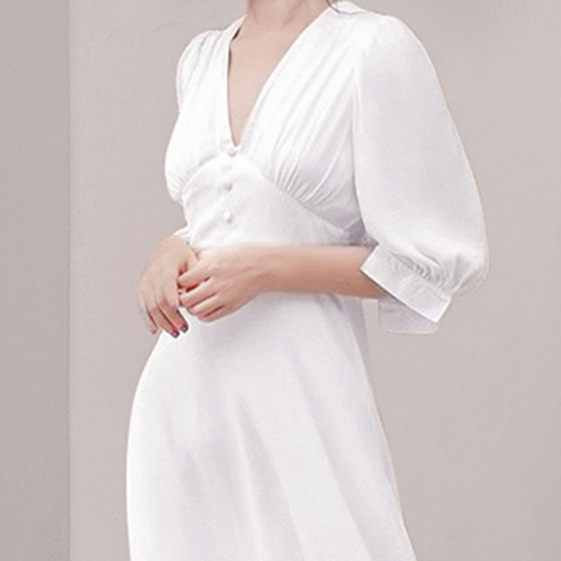HAMALIEL Fashion Women White Vestidos Summer Chiffon Half Sleeve Office Lady Dress Vintage Sexy V Neck High Waist Slim Dress 2