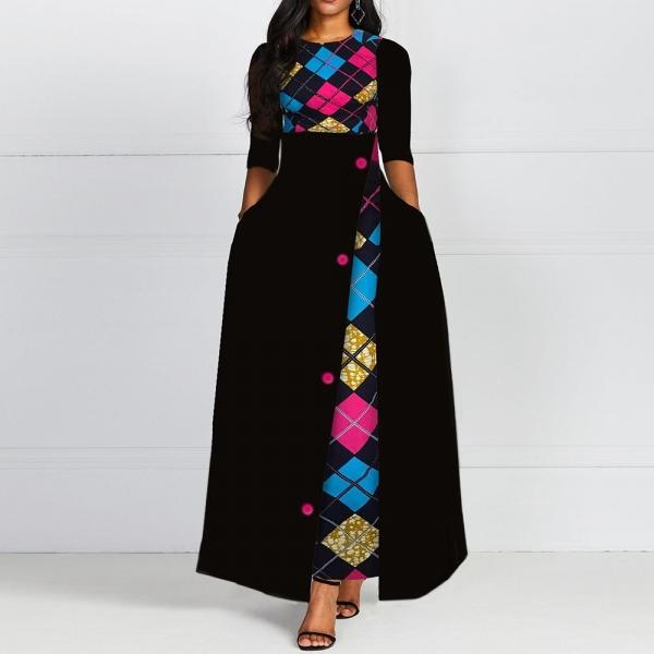 Autumn Winter Women Black Long Dress Elegant Print 19 African Vestido Vintage A Line Plus Size Half Sleeves Dresses