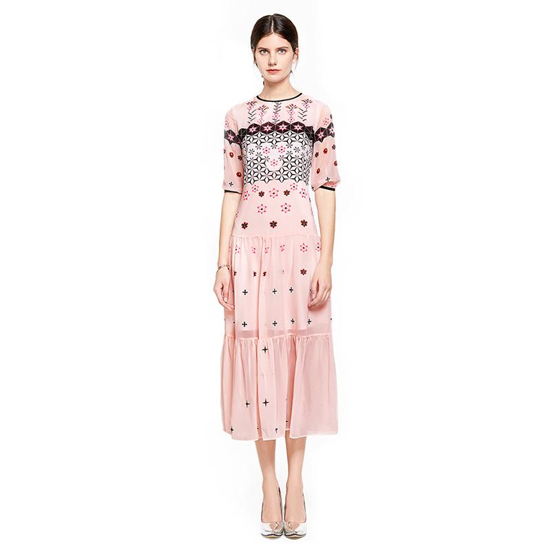 Women Summer Dress 19 High Quality Runway O-Neck Half Sleeve Print Elegant Dresses Vestidos NP0553M