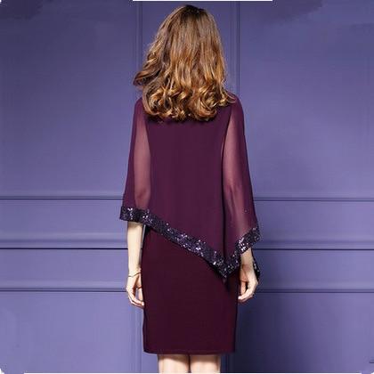 Women Elegant Cloak Sleeves Pencil Office Lady Dress 18 Vintage Chiffon Slim Work Office Business Party Bodycon Dress 2