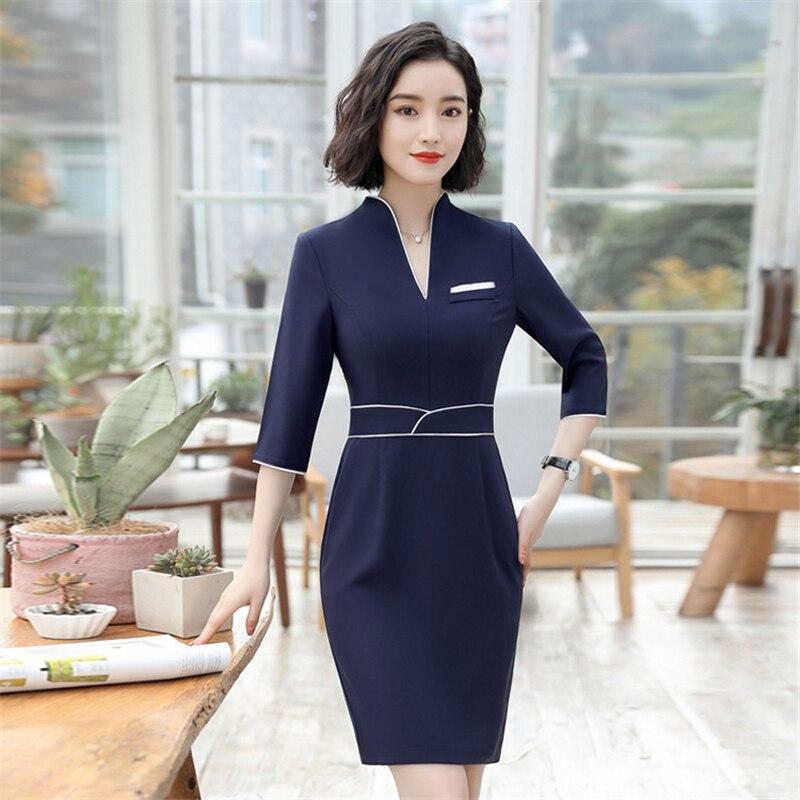 18 Summer Office Dresses For Women Elegant Business Half Sleeve Pencil Dress Ladies Casual Sretch Work Dresses D0176 1
