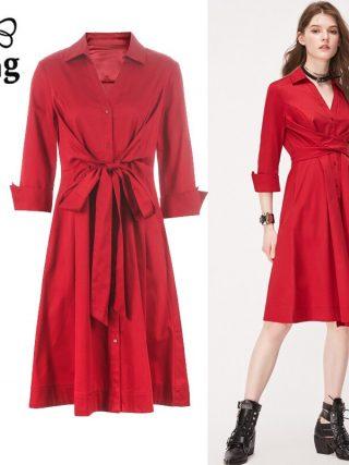 Tingfly Casual Summer Women Knee Length Shirt Dress Vintage Half Sleeve Elegant Office Work Dresses Streetwear Vestidos Plus