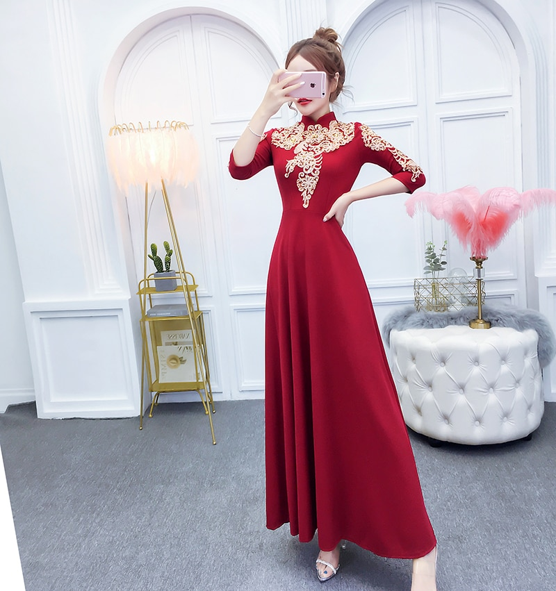 YOSIMI 19 Summer Maxi Evening Party Dress Half Sleeve Gold Line Embroidery Elegant A-line Long Slim Women Dresses Ankle-Length 3