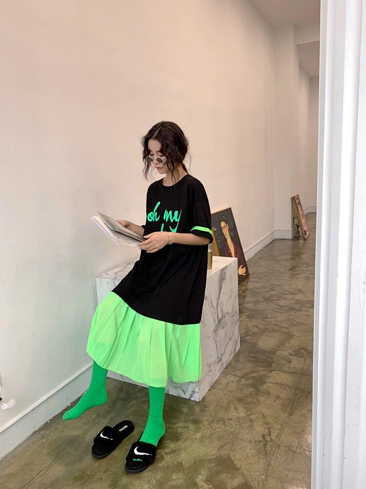 Large size 19 New summer Chiffon stitching Mid-Long Loose Cotton casual dress Korean Half sleeve dress women fashion plus size 3