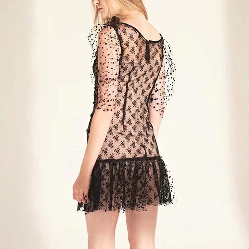 Foridol dot vintage bodycon dress women puff sleeve tulle dress v neck ruched ruffle black sheer dress vestidos  summer 3