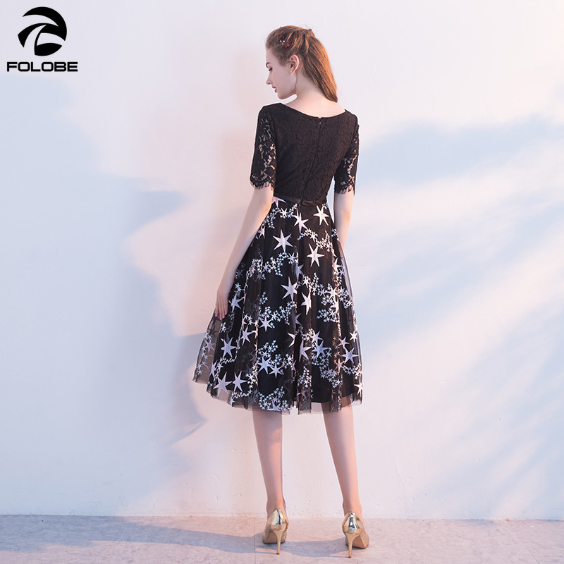 FOLOBE 19 new autumn fashion a line half sleeve black dress banquet party lace women dresses with embroidery stars 2