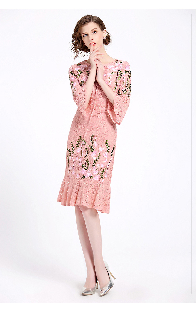 GORB 19 Newest Women Fashion Runway Lace Embroideried Pink Long Dress High Quality Flare Half Sleeve Slim Large Size Dresses 3