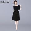 Borisovich Women Casual Sweater Dress New Brand 18 Autumn Fashion Half Sleeve Furcal Female Knitted A-line Dresses N034