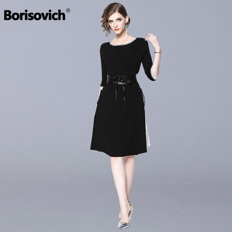 Borisovich Women Casual Sweater Dress New Brand 18 Autumn Fashion Half Sleeve Furcal Female Knitted A-line Dresses N034
