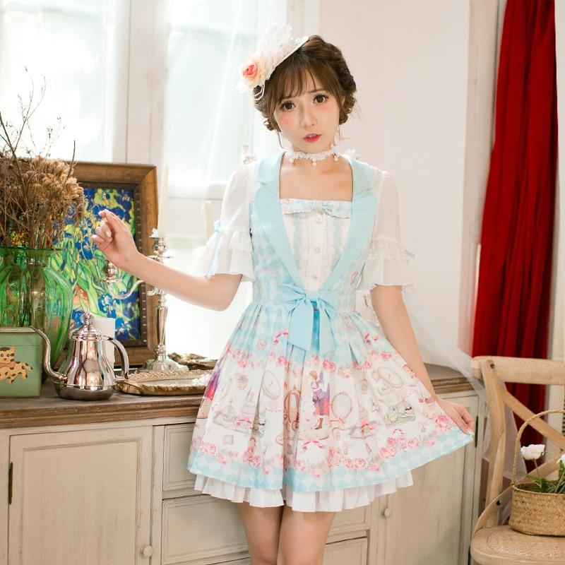 Princess sweet lolita Candy Rain dress Printing chiffon dress, Sweet Navy style Princess A-Line Half sleeved dress C22AB7159 1