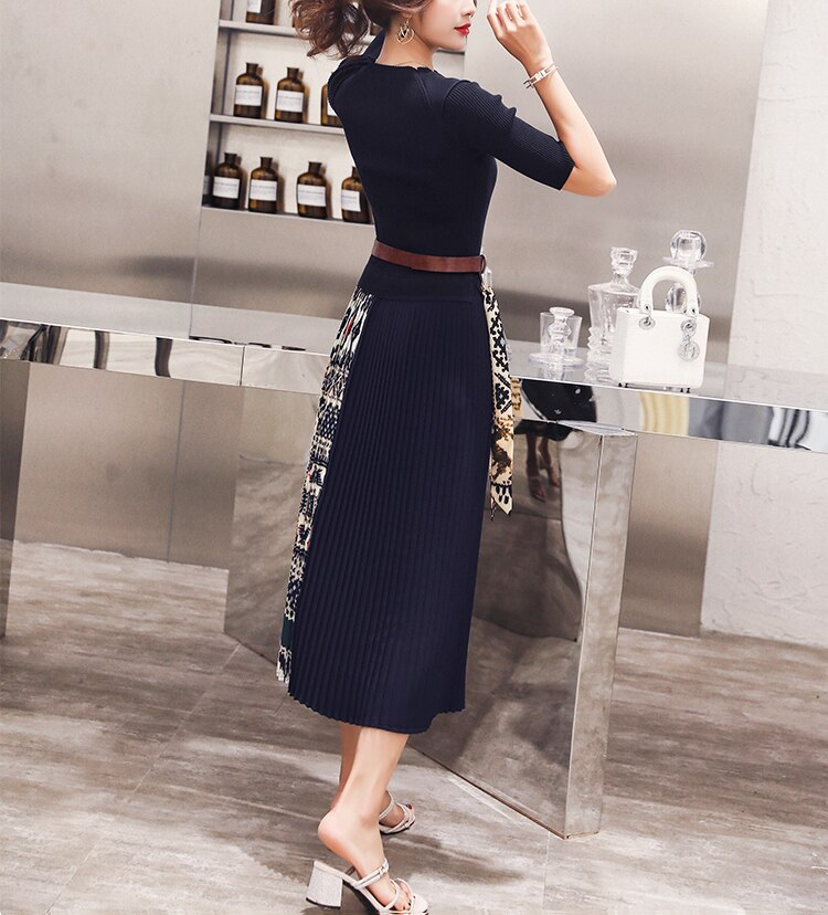 Fashion Boutique Women Knitted Dress Half Sleeve Printing Pleated Patchwork Dress Women Elegant Work wear Ladies Clothes SL175 3