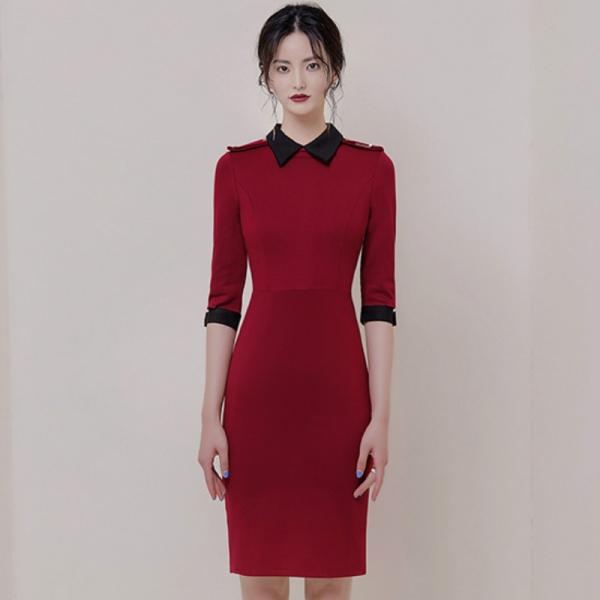 Autumn Turn-Down Collar Half Sleeve Red Vestidos Bodycon Pencil Brief OL Office Lady Dress