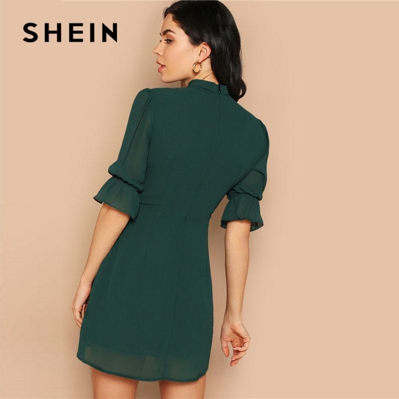 SHEIN Lady Green Elegant Tie Neck Stand Collar Flounce Sleeve Mini Dress Spring Solid Half Sleeve Ruffle Trim A Line Dress 2