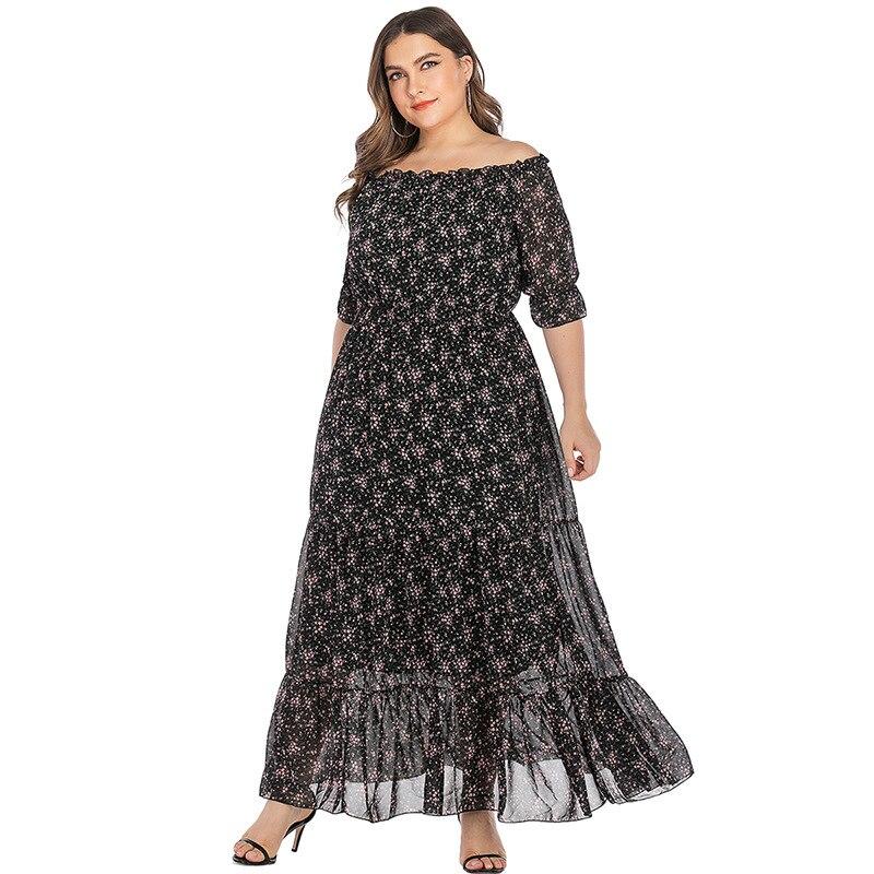 Large Size Office Ladies Slash Neck Floral Dress Half Sleeves Ruffles Stitching Maxi Dresses Woman Clothes TMZ7102 2