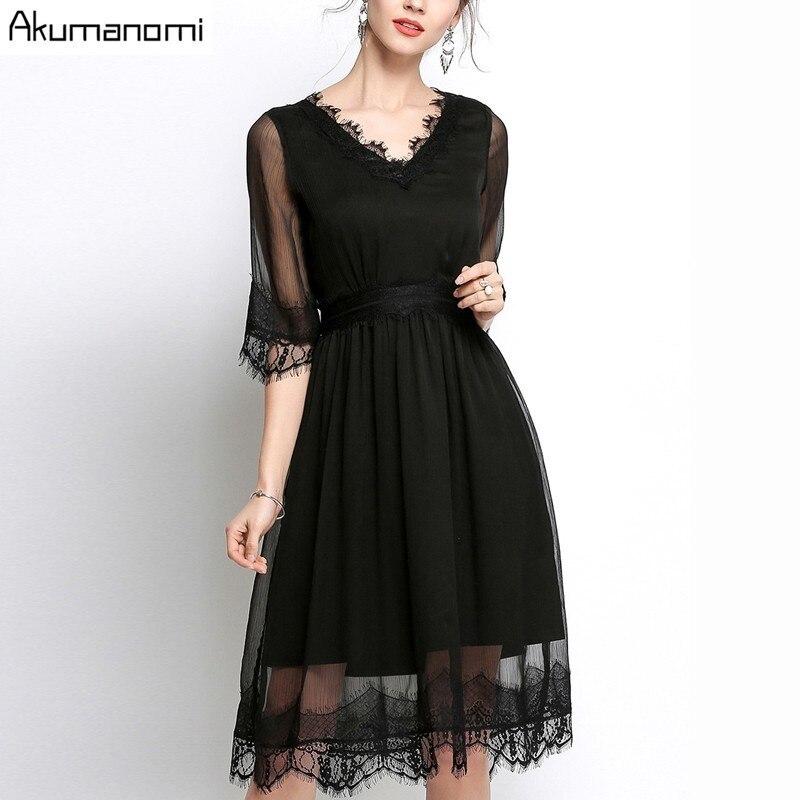 Summer Chiffon Dress Women Clothing Eyelash Lace V-neck Half Sleeve Wave Hem Dress High Quality Plus Size 5XL 4XL 3XL 2XL XL L M 2