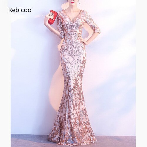 Gold Paisley Sequined Gem Beaded V Neck Half Sleeve Luxury Special Occasion Long Dresses For Women Elegant Sexy Club Party Dress 1