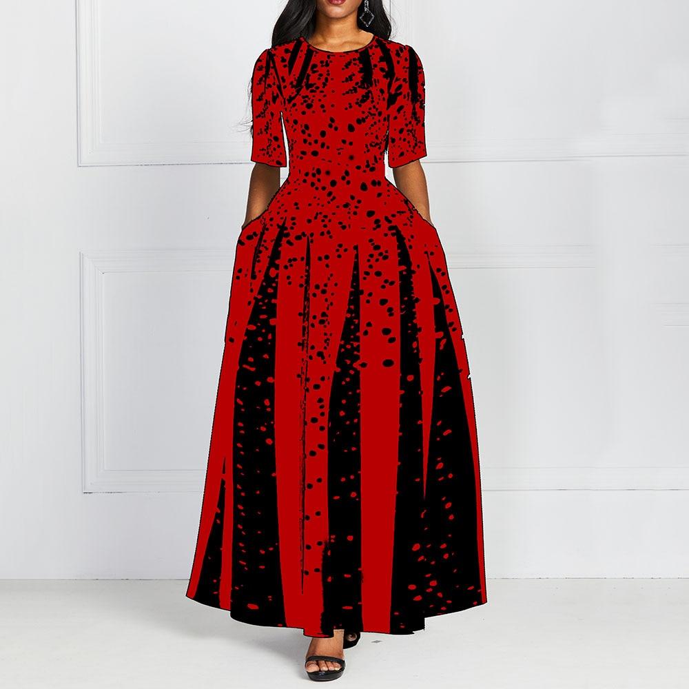 Fashion Women Red Half Sleeve Elegant Round Neck Boho Bandage Print Long Midi Dress Ladies Casual Slim Ladies Dress 1