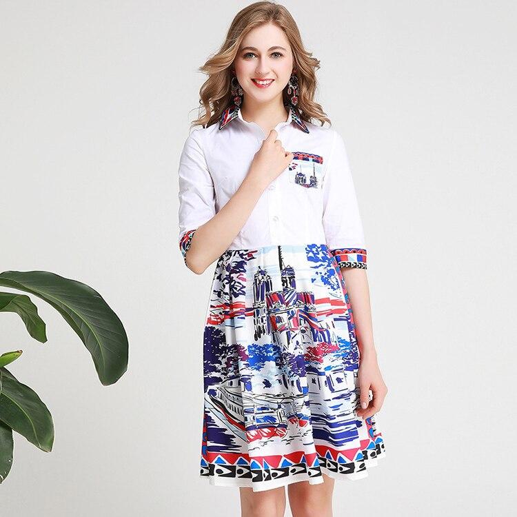 Women's Runway Dresses Turn Down Collar Half Sleeves Printed Fashion High Street Casual Dresses 2