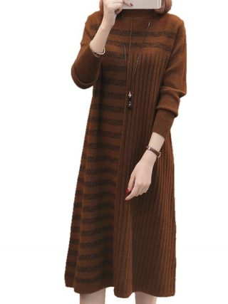 19 Women Autumn Winter Half Turtleneck Pullover Knitted Sweater Dress Female Elegant Loose Long Sleeve Striped Pull Knit Dress