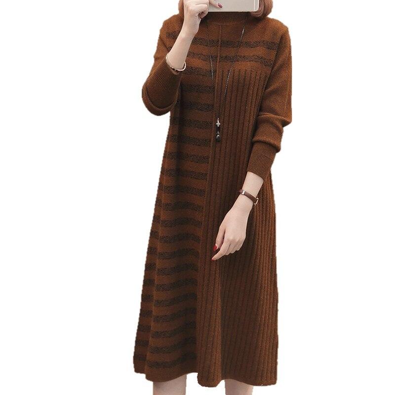 19 Women Autumn Winter Half Turtleneck Pullover Knitted Sweater Dress Female Elegant Loose Long Sleeve Striped Pull Knit Dress