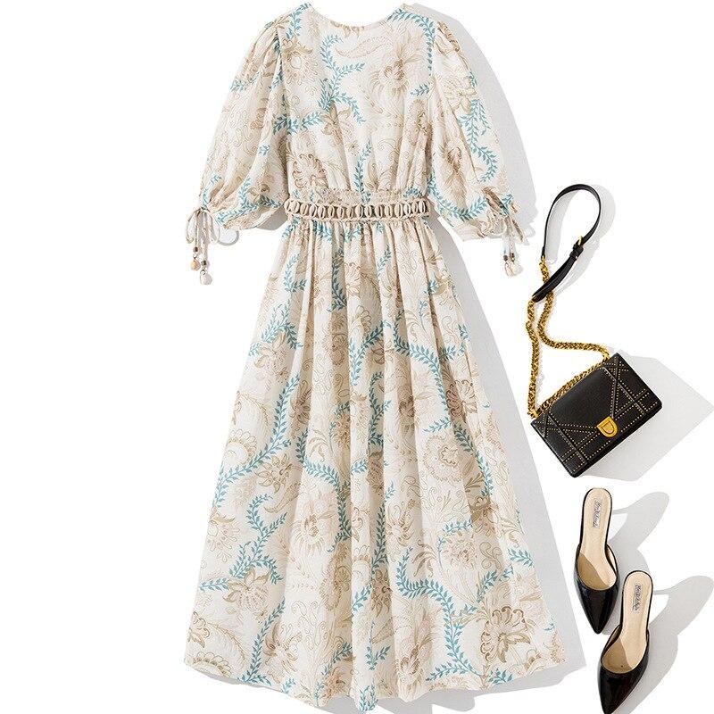 Women deep V-neck sexy bohemian dress half sleeve tassel sashes a-line summer casual dresses 19 2