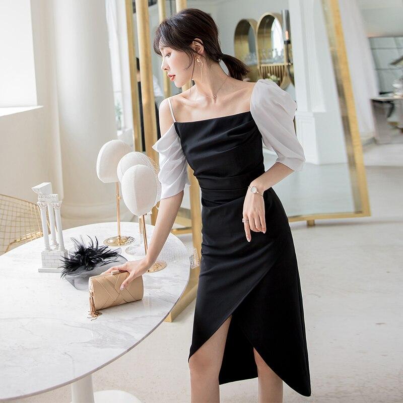 YIGELILA Women Retro Black Party Dress Summer Elegant Half Sleeve Straight Slim Mid-calf Dress 64970 3