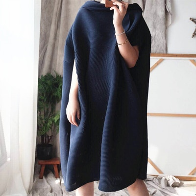FREE SHIPPING Miyake fold half sleeve dress slash neck solid batwing sleeve loose dress IN STOCK 2
