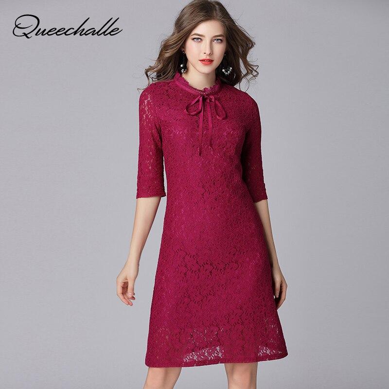 Queechalle Fuchsia Elegant Lace Dress for Women Bow Ties Collar Half Sleeve Women Dress 3XL 4XL 5XL Plus Size One-piece Vestidos