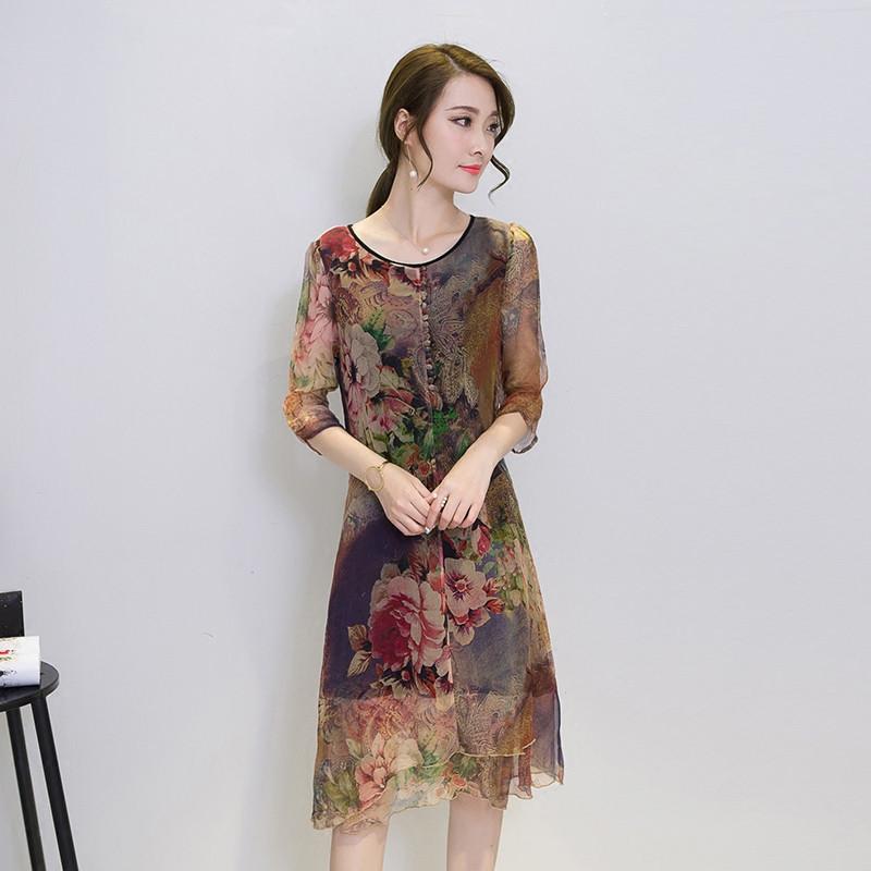 19 Half Sleeve Vestido Vintage Dress Plus size 4XL Medium Long Floral Silk Dress Women Clothing Thin Summer Dresses FYY342 3