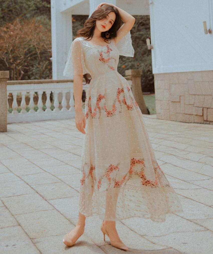 HAMALIEL Summer Women Mesh Holiday Dress 19 Elegant Floral Embroidery Half Sleeve Long Dress Vintage Square Collar Vestidos 3
